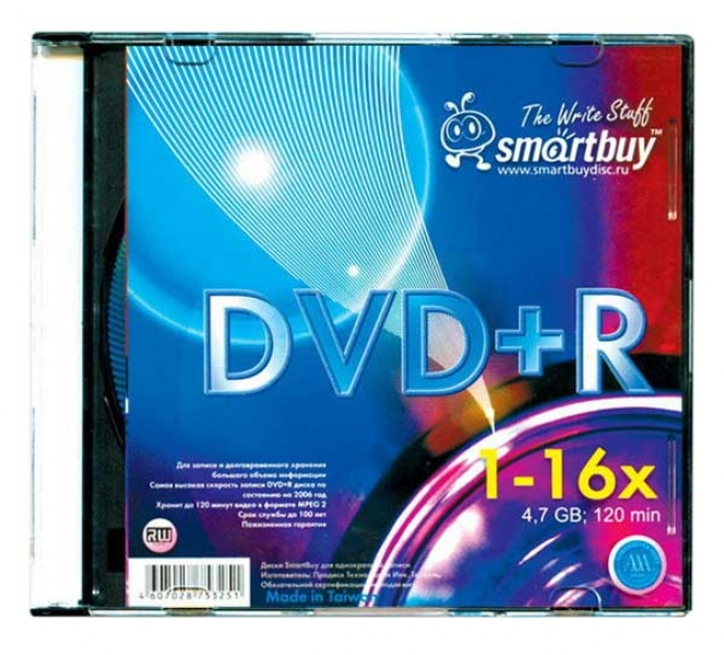 "Диски DVD-R 4,7GGb 16x ""SMART BUY"" Slim box"