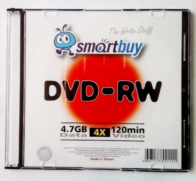 "Диски DVD-RW  4,7GGb 4x ""SMART BUY"" SLIM"
